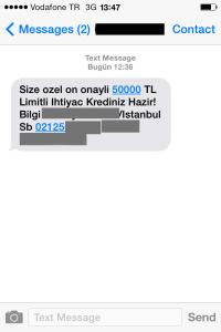 Bankadan gelen SMS